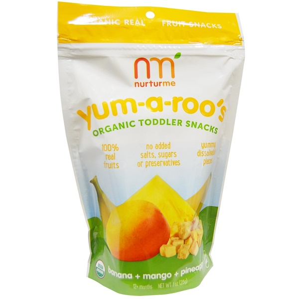 NurturMe, Organic, Toddler Snacks, Yum-A-Roo's, Banana + Mango + Pineapple, 1 oz (28 g) (Discontinued Item)