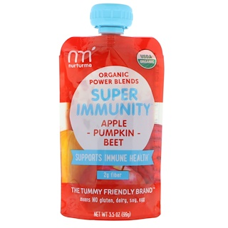NurturMe, Organic Power Blends, Super Immunity, Apple, Pumpkin, Beet, 3.5 oz (99 g)