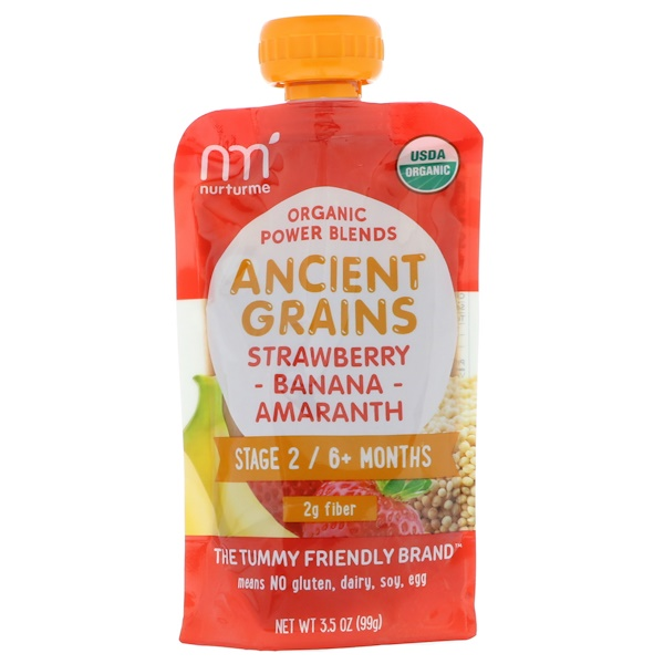 NurturMe, Organic Power Blends, Ancient Grains, Stage 2/6+ Months, Strawberry, Banana, Amaranth, 3.5 oz (99 g) (Discontinued Item)