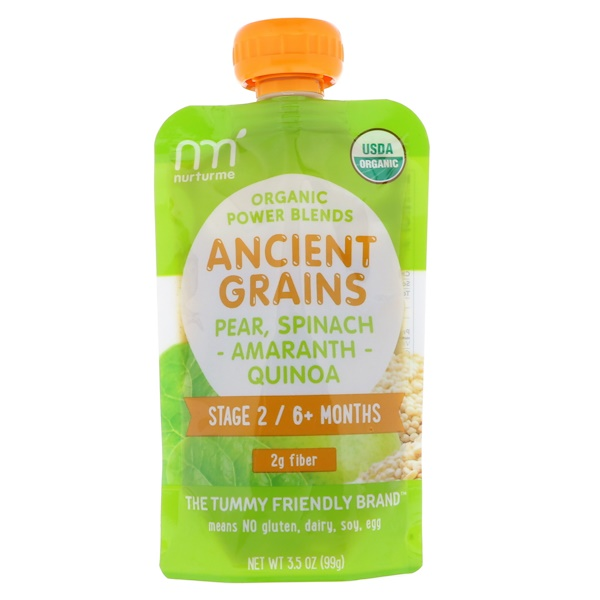 NurturMe, Organic Power Blends, Ancient Grains, Stage 2/6+ Months, Pear, Spinach, Amaranth, Quinoa, 3.5 oz (99 g) (Discontinued Item)
