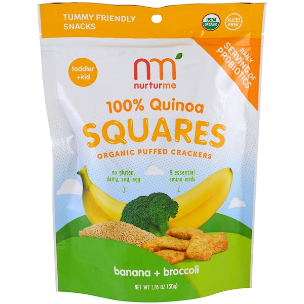 NurturMe, 100% Quinoa Squares, Organic Puffed Crackers, Banana + Broccoli, 1.76 oz (50 g) (Discontinued Item)