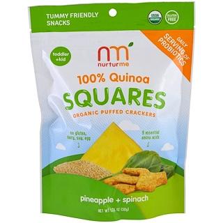 NurturMe, 100% Quinoa Squares, Organic Puffed Crackers, Pineapple + Spinach, 1.76 oz (50 g)
