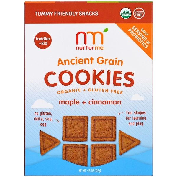 NurturMe, Органические печенья из древних зерновых, кленовый сироп плюс корица, 4.3 унции (122 г) (Discontinued Item)