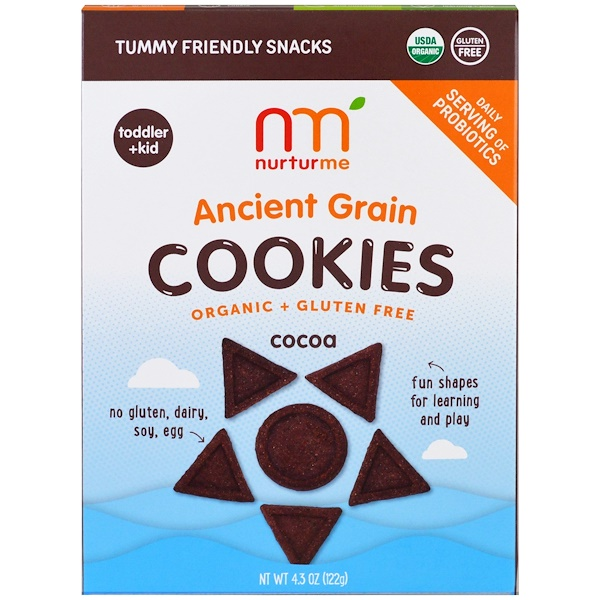 NurturMe, Organic Ancient Grain Cookies, Toddlers & Kids, Cocoa, 4.3 oz (122 g) (Discontinued Item)