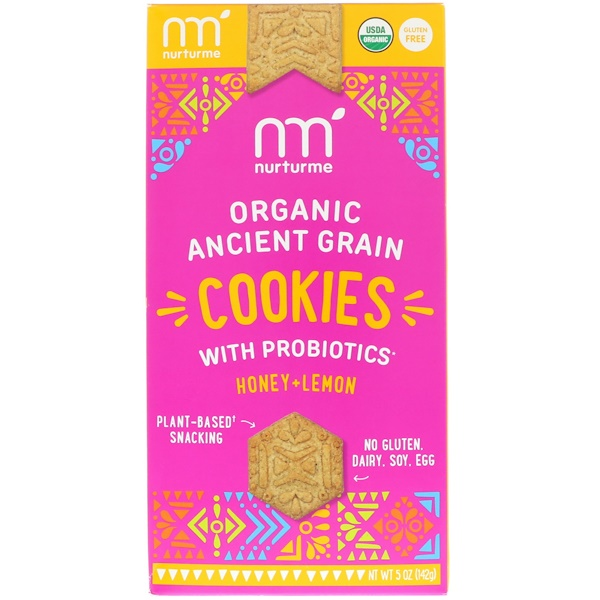 NurturMe, Organic Ancient Grain Cookies, With Probiotics, Honey + Lemon, 5 oz (142 g) (Discontinued Item)