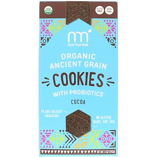 NurturMe, Organic Ancient Grain Cookies, With Probiotics, Cocoa, 5 oz (142 g)