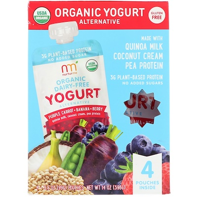 NurturMe Organic Yogurt Alternative, Purple Carrot + Banana + Berry, 4 Pouches, 3.5 oz (99 g) Each