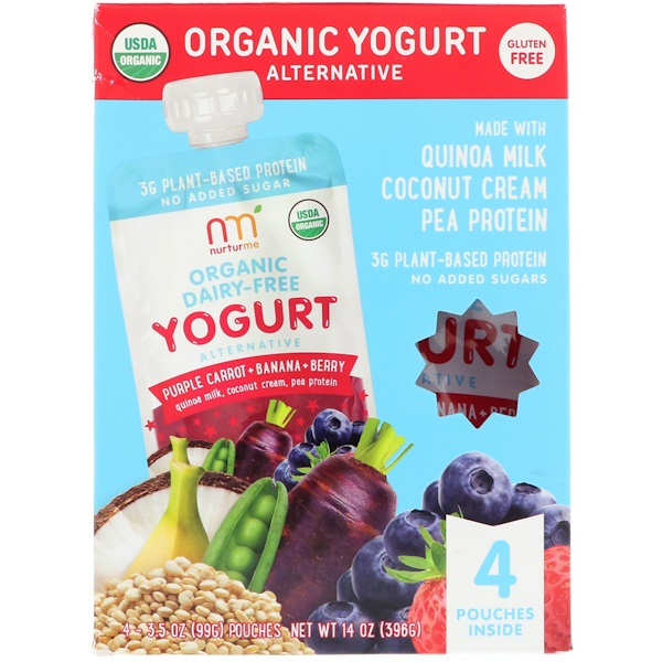 NurturMe, Organic Yogurt Alternative, Purple Carrot + Banana + Berry, 4 Pouches, 3.5 oz (99 g) Each