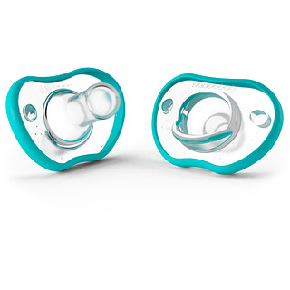 Nanobebe, Flexy Pacifier, 0-3 Months, Teal, 2 Pack
