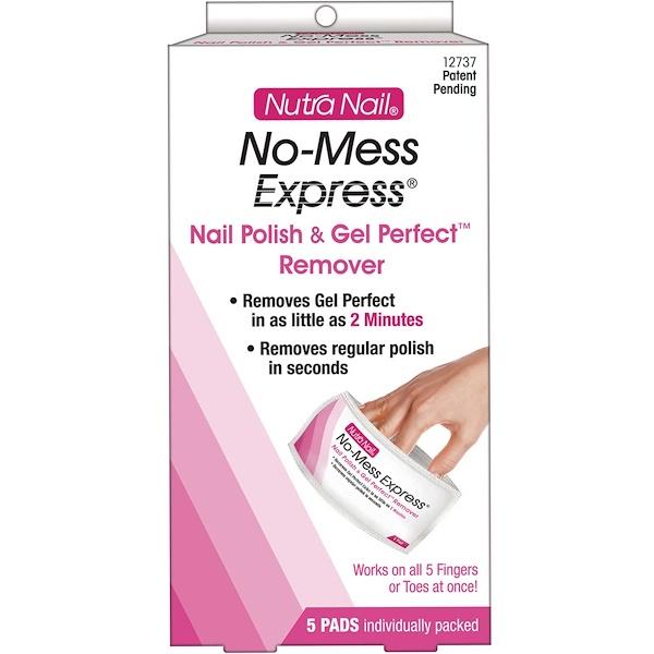 Nutra Nail, No-Mess Express, Nail Polish & Gel Perfect Remover, 5 Pads (Discontinued Item)