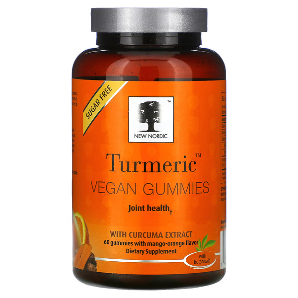 New Nordic, Turmeric Vegan Gummies with Curcuma Extract, Mango-Orange, 60 Gummies