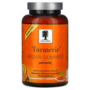 New Nordic, Turmeric Vegan Gummies with Curcuma Extract, Mango-Orange, 60 Gummies'