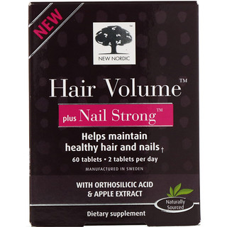 New Nordic US Inc, Hair Volume Plus Nail Strong, 60 Tablets