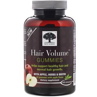 New Nordic, Hair Volume(ヘアボリューム)グミ、アップル、ハーブ、ビオチン入り、アップル風味、グミ60粒