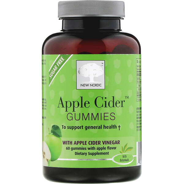 New Nordic US Inc, Apple Cider Gummies, Apple Flavor, 60 Gummies