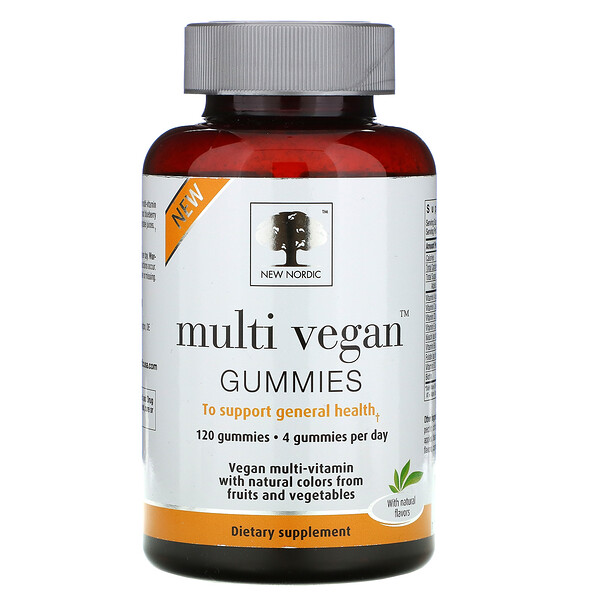 Multi Vegan Gummies, Orange, Strawberry & Blueberry, 120 Gummies