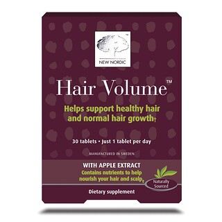 New Nordic US Inc, Hair Volume With Apple Extract, 30 Tablets