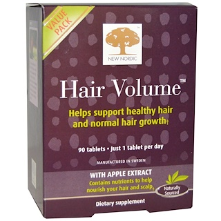 New Nordic US Inc, Hair Volume With Apple Extract, 90 Tablets
