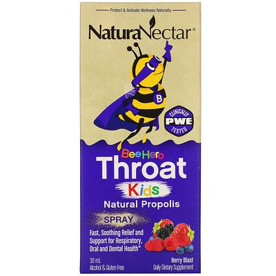 NaturaNectar Bee Hero Throat Kids, Natural Propolis Spray, Berry Blast, 30 ml