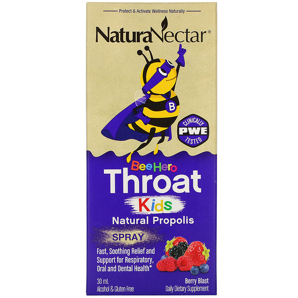 Bee Hero Throat Kids, Natural Propolis Spray, Berry Blast, 30 ml
