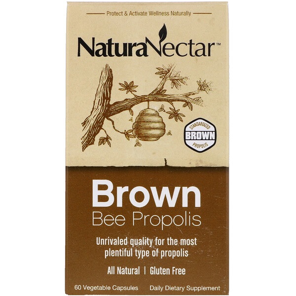 NaturaNectar, Brown Bee Propolis, 60 вегетарианских капсул