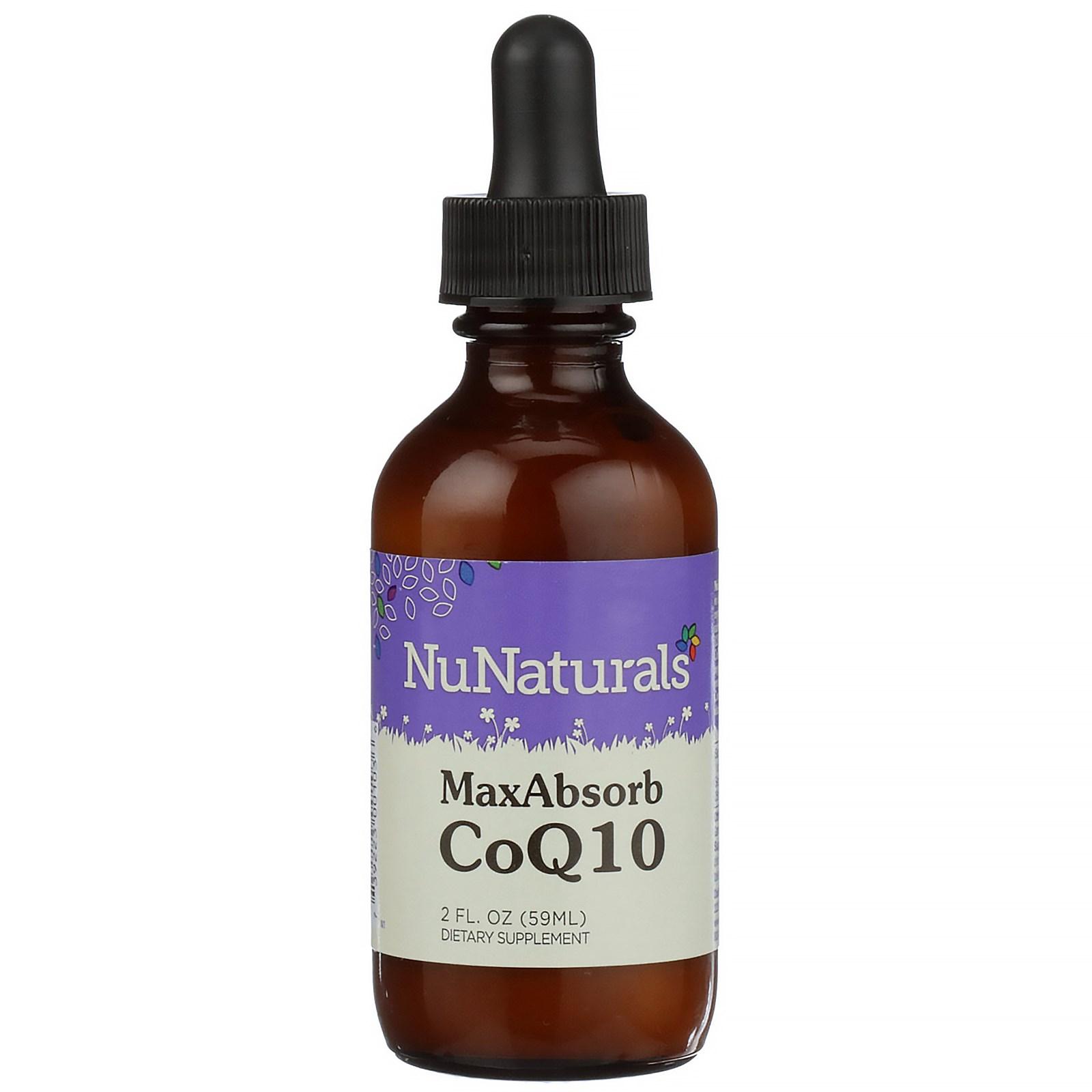 NuNaturals, CoQ10 максимальная абсорбция 2 жидких унции (59 мл)