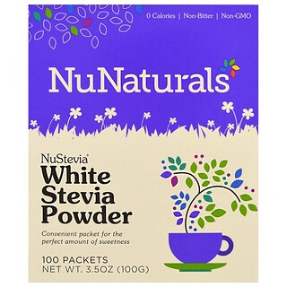 NuNaturals, NuStevia、White Stevia Powder、個包装100個入り 3.5 oz (100g)