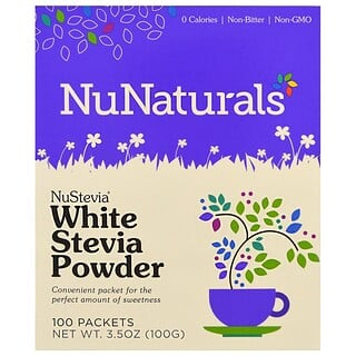 NuNaturals, NuStevia, White Stevia Powder, 100 Packets, 3.5 oz (100 g)