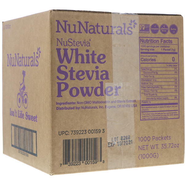 NuNaturals, NuStevia, White Stevia Powder, 1000 Packets, 2.23 lbs (1000 g)