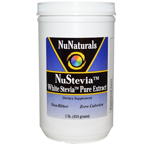 NuNaturals, NuStevia, White Stevia Pure Extract, 1 lb (454 g) (Discontinued Item)