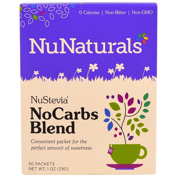 NuNaturals, NuStevia, No Carbs Blend, 50 Packets, 1 oz (29 g)