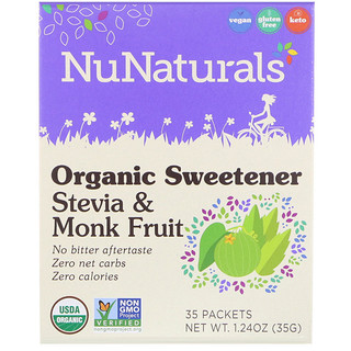 NuNaturals, Organic Sweetener, Stevia and Monk Fruit, 35 Packets, 1.24 oz (35 g)
