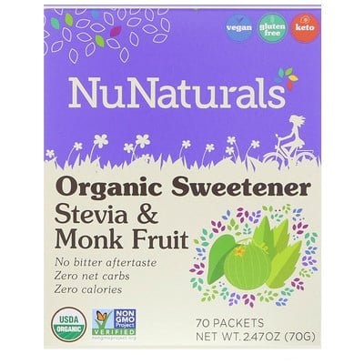 NuNaturals Органический подсластитель, стевия и архат, 70 пакетиков, 2, 47 унции (70 г)  - купить со скидкой