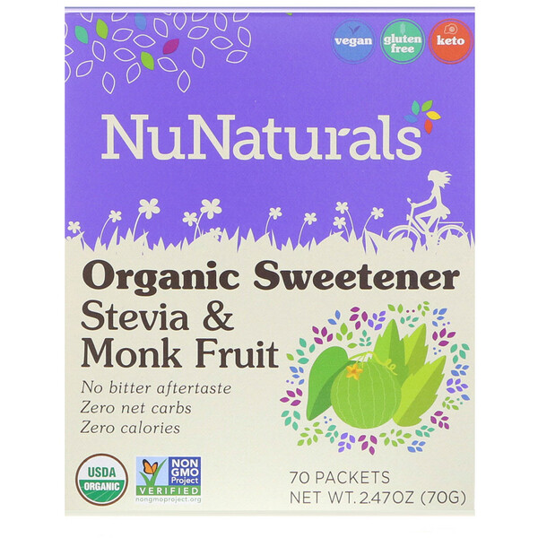 NuNaturals, Organic Sweetener, Stevia and Monk Fruit, 70 Packets, 2.47 oz (70 g)