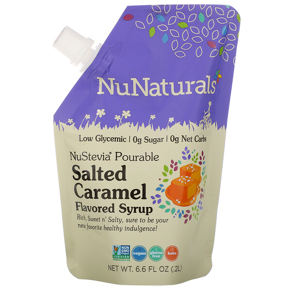 NuNaturals, NuStevia, Pourable Salted Caramel Flavored Syrup, 6.6 fl oz (.2 l)