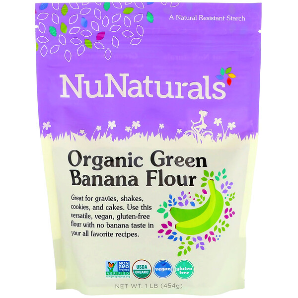 NuNaturals, Organic Green Banana Flour, 1 lb (454 g) (Discontinued Item)
