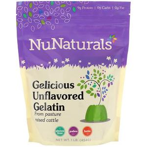 NuNaturals, Gelicious Unflavored Gelatin, 1lb (454 g)