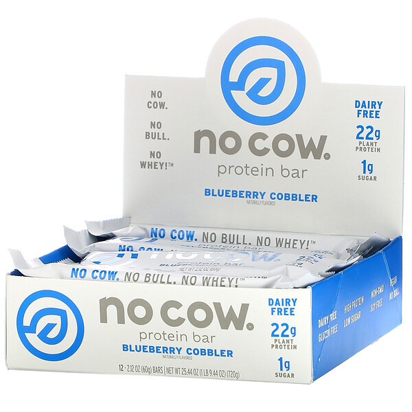 No Cow, Protein Bar, Blueberry Cobbler, 12 Bars, 2.12 oz (60 g) Each (Discontinued Item)