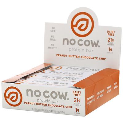 Купить No Cow Протеиновый батончик, шоколадная крошка с арахисовой пастой, 12батончиков по 60г (2, 12унции)