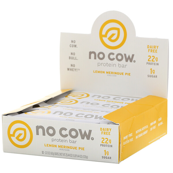 No Cow, Protein Bar, Lemon Meringue Pie, 12 Bars, 2.12 oz (60 g) Each