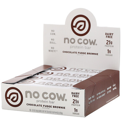 Купить No Cow Протеиновый батончик, брауни с шоколадной помадкой, 12батончиков по 60г (2, 12унции)