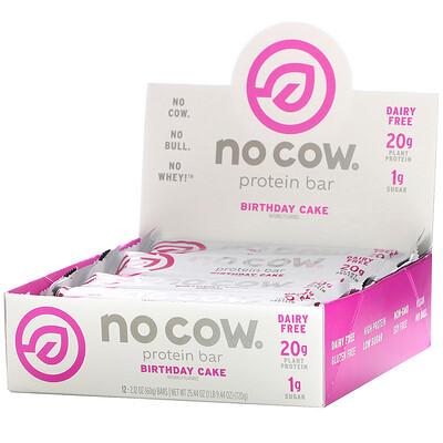No Cow протеиновые батончики, вкус «Именинный пирог», 12 шт. по 60 г (2,12 унции) каждый