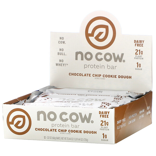 No Cow, Protein Bar,  Chocolate Chip Cookie Dough, 12 Bars, 2.12 oz (60 g) Each