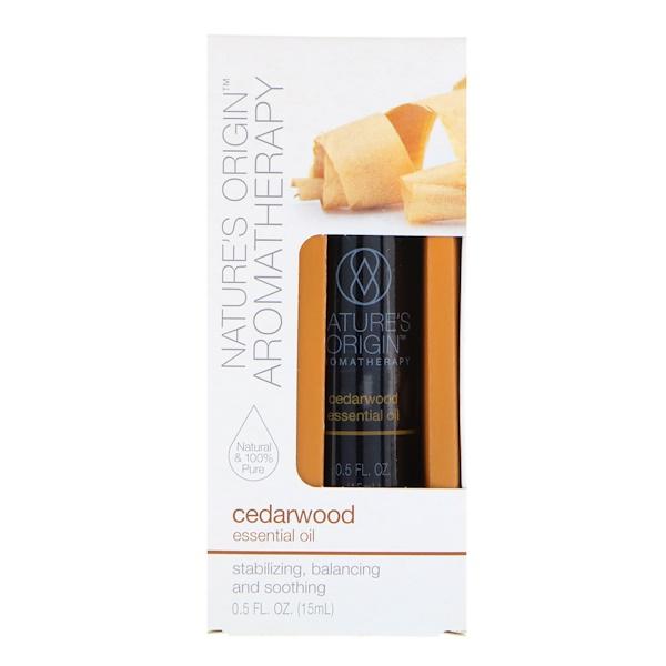 Nature's Origin, Aromatherapy, Essential Oil, Cedarwood, 0.5 fl oz (15 ml) (Discontinued Item)