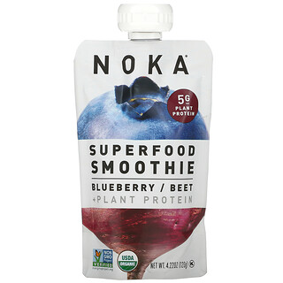 Noka, Superfood Smoothie + Plant Protein, Blueberry, Beet, 4.22 oz (120 g)