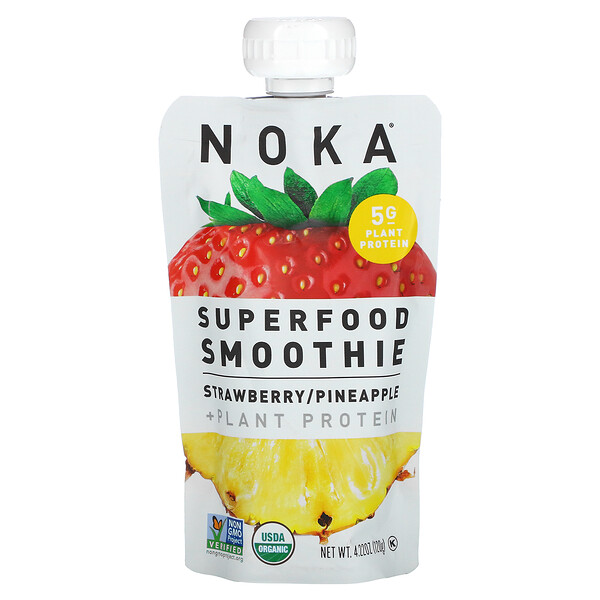 Superfood Smoothie + Plant Protein, Strawberry, Pineapple, 4.22 oz (120 g)