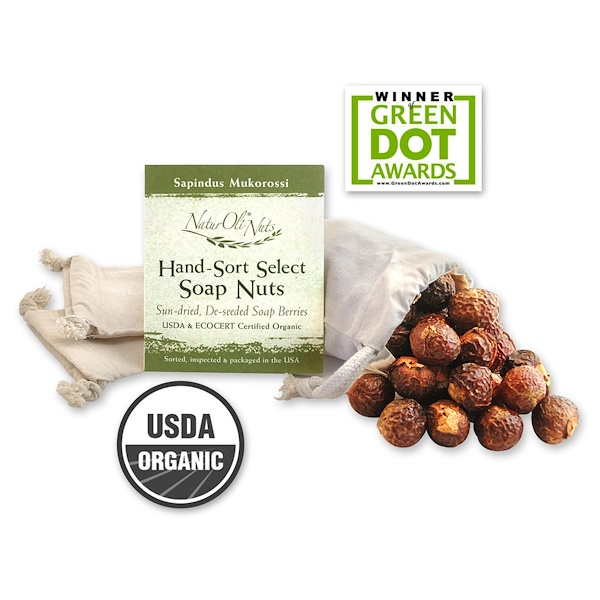 NaturOli, Organic, Hand-Sort Select Soap Nuts With 1 Muslin Drawstring Bag, 4 oz