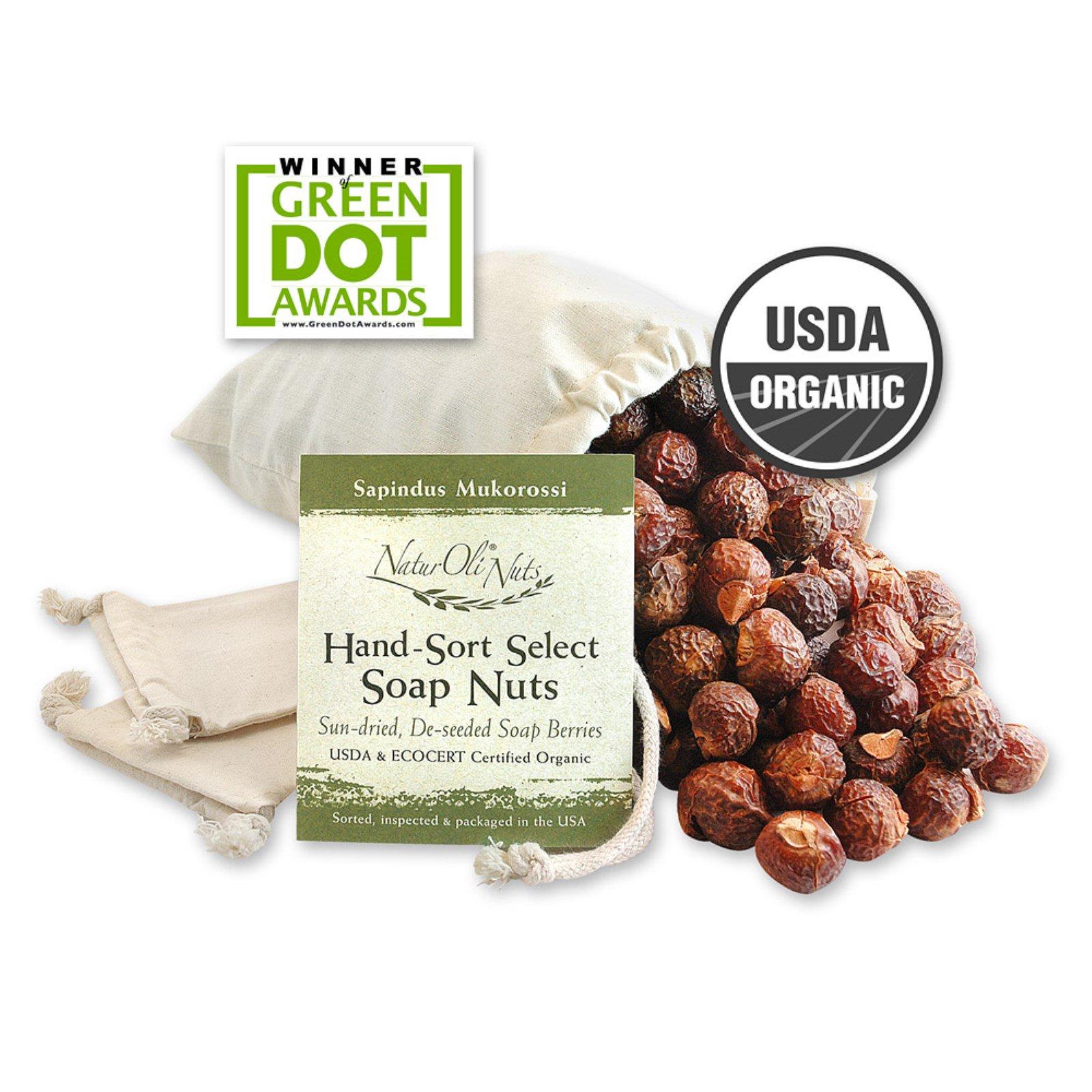 NaturOli, Organic, отобранные вручную мыльные орехи с 2 муслиновыми мешочками на кулиске, 16 унций