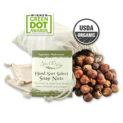 Organic, отобранные вручную мыльные орехи с 2 муслиновыми мешочками на кулиске, 32 унции