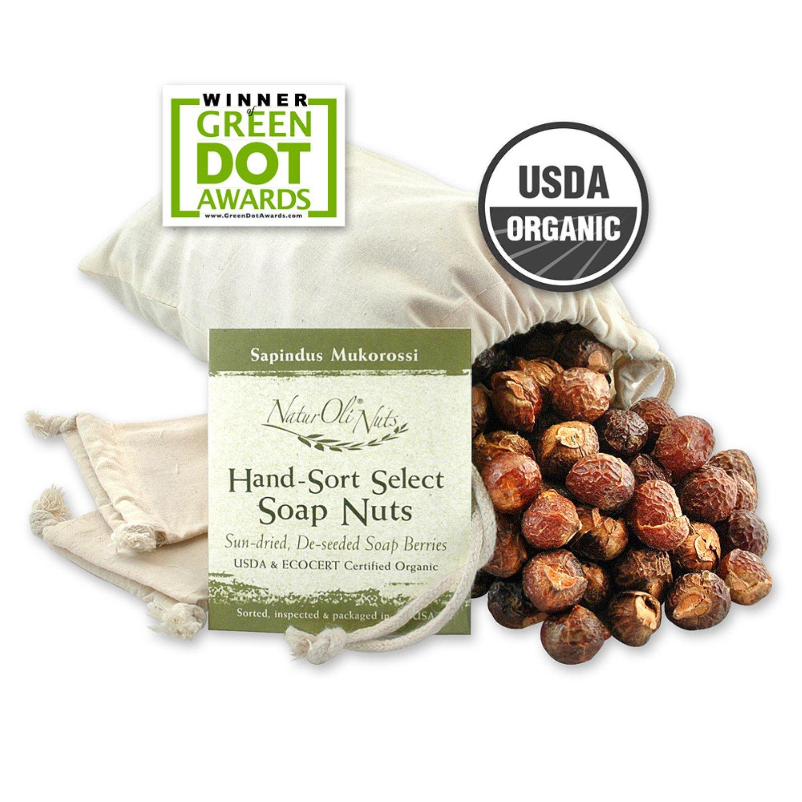 NaturOli, Organic, отобранные вручную мыльные орехи с 2 муслиновыми мешочками на кулиске, 32 унции